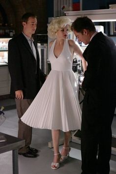 Abby plays Marilyn Monroe for Halloween with the approval Tony and McGee NCIS