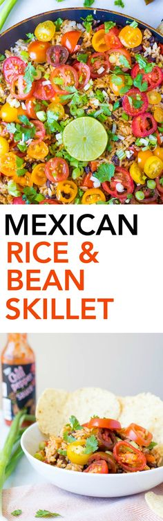 Mexican Rice and Bean Skillet: This easy gluten free, vegetarian, and vegan 20-minute meal is full of fresh and exciting flavors! || fooduzzi.com recipe