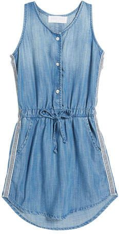 Bella Dahl Sporty Tank Sleeveless Denim Dress w/ Striped Trim, Size Sleeveless Denim Dress, Denim Romper, Summer Outfits, Cute Outfits, Tank Dress, Jeans, Rompers, Sporty Dresses, Girls Dresses