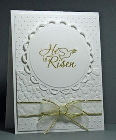 Stamps: Stampin' Up Easter Dove   Paper: white   Ink: Versamark   Accessories: Cuttlebug embossing folder (dots), Sizzix embossing folder (leaf), misc ribbon, detail gold embossing powder