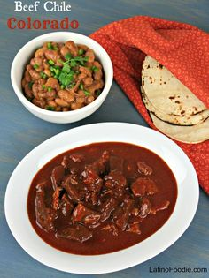Beef Chile Colorado recipe - Tender beef simmered in a densely flavored, smoky red chile sauce. #Mexicanfood Chili Recipes, Meat Recipes, Mexican Food Recipes, Crockpot Recipes, Cooking Recipes, Oven Recipes, Cooking Ideas, Fall Recipes, Mexican Recipes