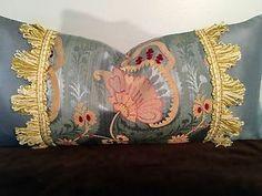 "Scalamandre ""Anemone"" Blue Lampas with Silk Trim Lumbar Pillow   eBay"