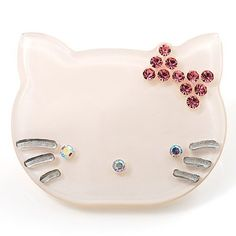 $17.11 This little kitty brooch is a real find for your cat jewellery collection. This one will easily keep you in a bright mood and make you smile throughout the day. The brooch features a cute kitten design, adorned with sweet crystal bow in hues of pink. It's made of snow white shiny plastic, and attaches securely with a pin clasp. Looks great on lapels, pockets, pinned to the legs of jeans, on bags, hats, shoes - or wherever.
