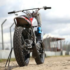 Honda CR500 two stroke powered flat tracker. The rest of the bike is a hybrid of parts- Suzuki, Yamaha, Aprilia, Ducati and a shock from a V8 hot rod!