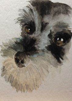 Schnauzer - original art card, painted in watercolour by Patch.
