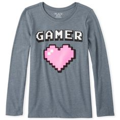 Shop for The Children's Place Girls Glitter Gamer Graphic Tee. Check out our great selection of kids clothes, baby clothes & more at the PLACE where big fashion meets little prices! Latest Jeans, Girl Outfits, Cute Outfits, Graphic Tees, Graphic Sweatshirt, Aesthetic Shirts, Big Fashion, Children's Place, Gamer Girls