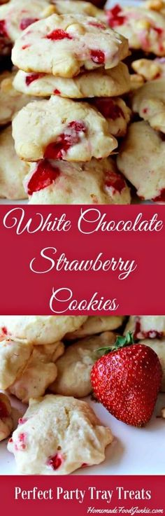 White Chocolate Strawberry Cookies with a burst of fresh strawberry flavor. Add the white chocolate for a nummy party tray favorite dessert.