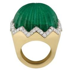 1960s David Webb Carved Emerald Diamond Gold  Ring