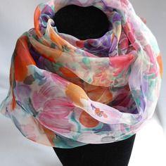 "Etole écharpe foulard en mousseline de soie peint main fleuri "" milady """