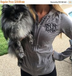 ON SALE Monogram Zip Up Monogrammed Hoodie Monogrammed Zip
