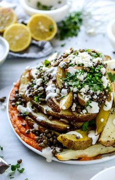 This Crispy Roasted Potato Wedges with Squash, Lentils, and Goat Cheese recipe is filling, satisfying, and full of flavor. The creamy goat cheese and fresh herb topping makes this dish stand apart from the rest—serve it alongside a main dish for dinner or enjoy it on its own!