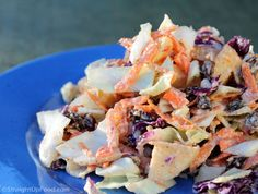 Creamy Coleslaw ... coleslaw mix or red/gr cabbage, carrots, apples,  raisins, red onion ... w dressing recipe :)