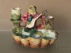 Vintage Majolica Frog Playing Mandolin Smoke Set/Match Holder/Striker in Pottery & Glass, Pottery & China, Art Pottery | eBay