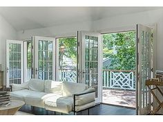 Throw open a wall full of French doors for instant summer happiness! #interiordesign #architecture #Frenchdoors #summer