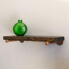 Rustic wall shelf - Wood and Pipe Shelf - Industrial Shelf - Floating shelf - Industrial Shelving - Wall Shelving - Industrial Furniture Wood And Pipe Shelves, Industrial Wall Shelves, Rustic Industrial, Industrial Furniture, Pipe Shelving, Wall Shelving, Shelving Units, Floating Bookshelves, Rustic Floating Shelves