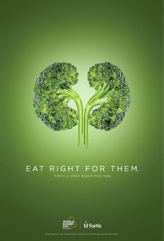 Healthcare Advertising : Campagne pour le World Kidney Day Eat right for them Clever Advertising, Social Advertising, Advertising Poster, Advertising Design, Advertising Campaign, Poster Ads, Product Advertising, Creative Poster Design, Ads Creative