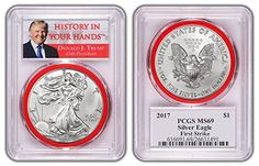 2017 1oz Silver Eagle PCGS MS70 RED LABEL   RED GASKET 1st TERM DONALD TRUMP