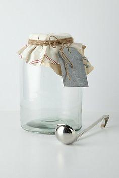 Mason Beverage Jar #anthropologie (just put your own cloth scrap or pretty cloth napkin over a big jar)