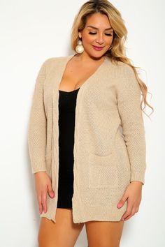 e53a865e68d4a Sexy Camel Long Sleeve Open Face Plus Size Jacket
