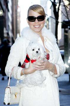 Mariah Carey with her Maltese!  #lovethatpet #lovethatcelebritypet