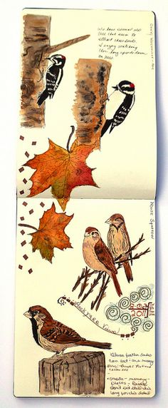 Art Journal assignment: take a walk and photograph the thanksgiving season. Create a two page spread in your journal.