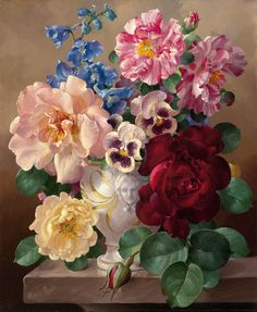 "art-and-things-of-beauty: "" Harold Clayton (1896-1976) - Summer Flowers, oil on canvas, 30.5 x 25.4 cm. """