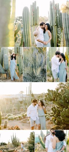 Engagement Photos Desert couple shoot between the cacti and in a beautiful pale green dress Engagement Photo Outfits, Engagement Photo Inspiration, Photoshoot Inspiration, Engagement Pictures, Engagement Shoots, Wedding Pictures, Wedding Ideas, Engagement Ideas, Photoshoot Ideas