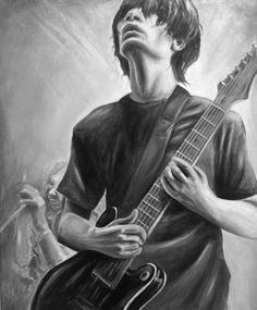 Painting I did of Jonny Greenwood from Radiohead / art / portrait / acrylic