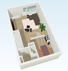 3D visualisatie indeling tussenwoning door www.studio1019.nl