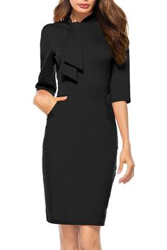 Berydress Women s Vintage Chic 50s Tie Neck Half Sleeve Sheath Bodycon  Cocktail Party Pencil Dress With Pockets 096b95e8d113