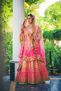 Bridal lehnga with Gota Patti