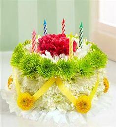Happy Birthday Flower Wishes Flowers Cake With