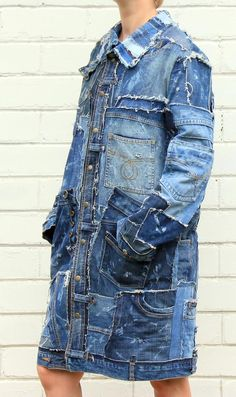 Denim fashion - Steampunk jeans long jacket from recycled denim with 22 pockets for man and woman size M – Denim fashion Long Denim Jacket, Denim Jacket Patches, Denim Coat, Hipster Grunge, Grunge Style, Denim And Lace, Diy Jeans, Denim Mantel, Custom Denim Jackets