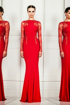 Zuhair Murad flattering red lace gown. There's nothing like a red dress.
