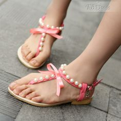 Soft Pink PU Pearls Lace-up Flip Flops Sandals