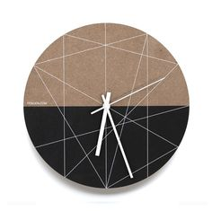 White Lines Wall Clock Architectural inspired graphic that indicates number positions.Half unfinished MDF board, half painted black by hand with printed white l