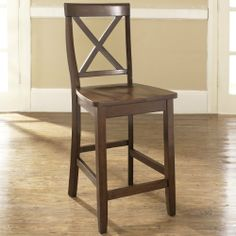 X-Back Bar Stool in Mahogany w 24 Inch Seat Height-Set of 2 Set of Shaped Back for Comfort. Perfect Height for 36 Height Dining/Pub Tables or Counter Seating. Four Solid Hardwood Leg Stretchers for Durability.