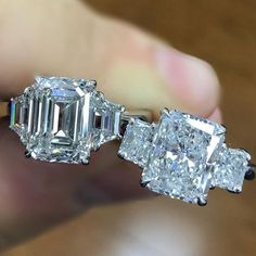 When choosing between diamond shapes for engagement ring the emerald cut(left) and radiant cut(right) are two of the most requested shapes… Radiant Engagement Rings, Engagement Ring Cuts, Bridal Rings, Wedding Rings, Jewelry Gifts, Fine Jewelry, Men's Jewelry, Jewlery, Jewelry Accessories
