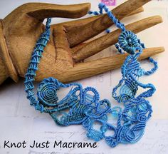 A study of water free form micro macrame necklace. via Knot Just Macrame