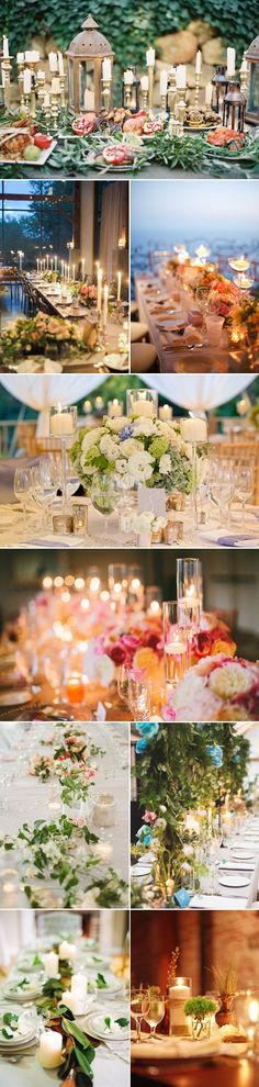Centre Piece ideas for long tables- I like the combination of short stemmed bouquets and tall glass tea candle holders