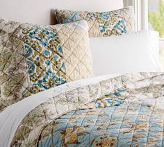 Pottery Barn Kennedy Patchwork Full Queen Quilt 2 Std Shams New Floral Spring | eBay