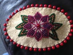 Medium Barrette on Split Moose Leather by Alaska Beadwork ~ $30