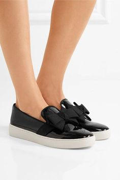 Michael Kors Collection - Val Grosgrain-trimmed Patent-leather Slip-on Sneakers - Black - IT