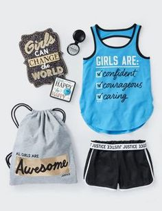 """Any girl can """"work"""" this outfit (from justice!) , if you get the joke!    ( 2 piece w/ an """"awesome"""" backpack )"""
