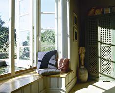Love this window seat!!   Yellow Traditional Living Room - Living Room Design Ideas - Zimbio