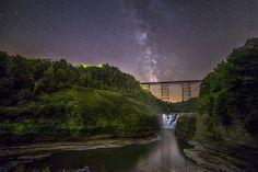 A starlit night over the Upper Falls.  Photo courtesy Mark Papke.  http://mark-papke.artistwebsites.com/