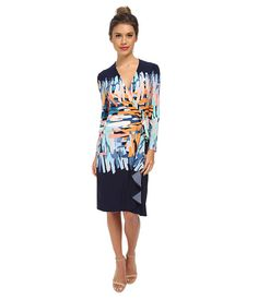 BCBGMAXAZRIA Adele Printed Wrap Dress Dark Ink Combo - Zappos.com Free Shipping BOTH Ways