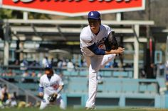 Dodgers pitcher Kenta Maeda got roughed up in his first career postseason start, giving up four runs to the Washington Nationals in Game 3 of the 2016 NLDS. Photo by Dennis J. Freeman/News4usonline.com
