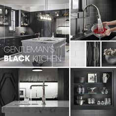 This black kitchen incorporates glass-front cabinets, marble countertops and three sinks, including a prep sink for entertainment. Prep Sink, Lumber Liquidators, Glass Front Cabinets, Small Bars, Bar Sink, Marble Countertops, Black Kitchens, Contemporary Style, Kitchen Design
