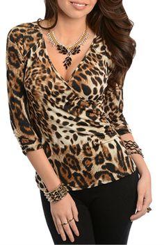 Leopardo trendy faux wrap animal Animal Print Outfits, Animal Print Fashion, Lace Top Dress, Mod Dress, Leopard Print Top, Leopard Dress, Cool Outfits, Casual Outfits, Fashion Outfits